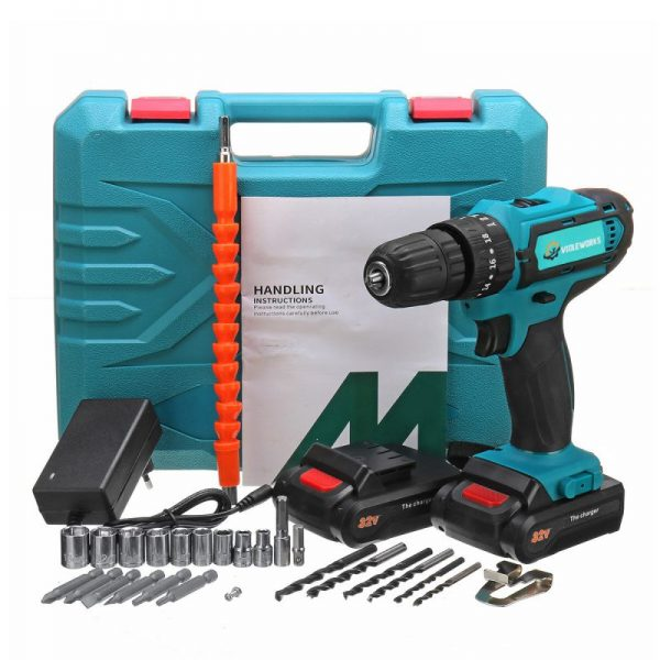 Two Speed Electric Drill Screwdriver with 2 Batteries