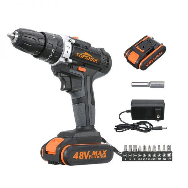 Topshak TS-ED1 Cordless Electric Impact Drill Rechargeable Drill Screwdriver