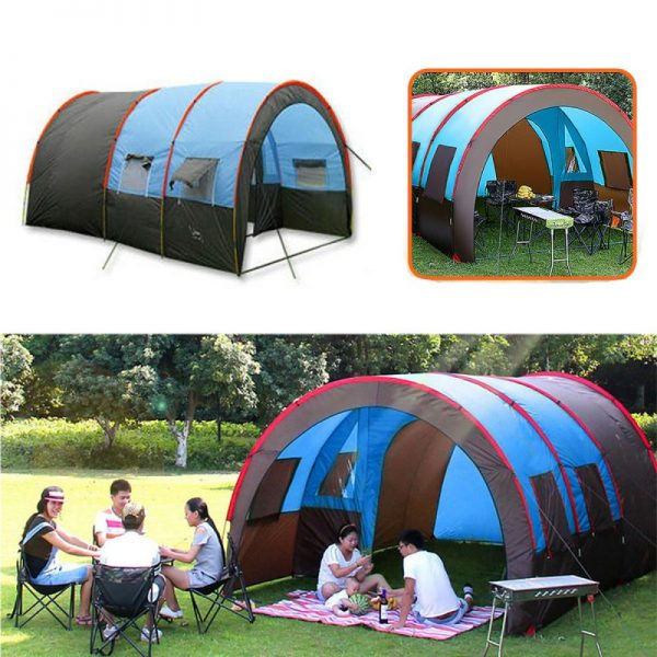 Outdoor Camping Tent 8-10 People Waterproof Double Layer Large Family Tent Canopy Sunshade